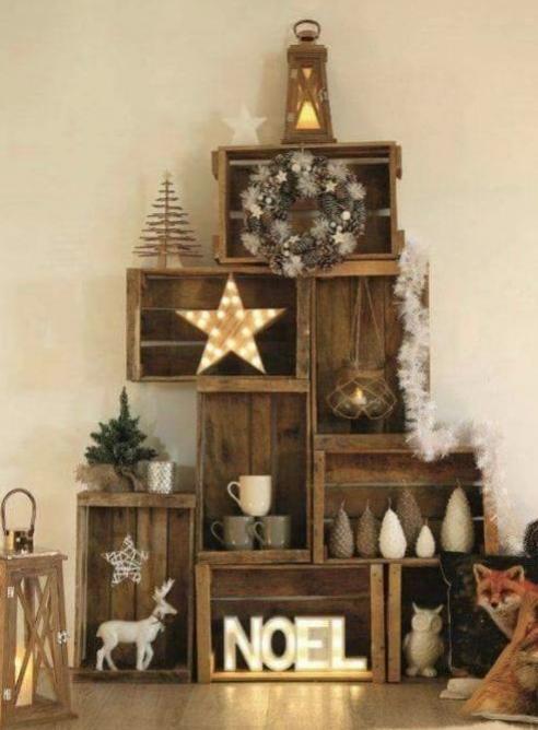 caisse en bois special noel. Black Bedroom Furniture Sets. Home Design Ideas